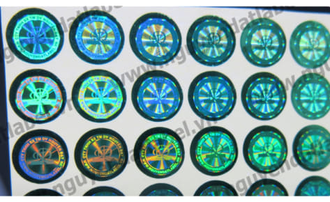 Tem chống giả in laser decal xanh lá
